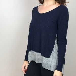Navy Striped Twofer Sweater